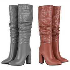 Cowboy Women Pointy Toe Knee High Knight Boots Runway Outdoor Block Heel 34/43 L