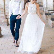Romantic 2019 New Beach Halter Chiffon Lace wedding dress Bride Gown Custom Size