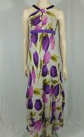 Hobbs Floral Maxi Dress Pink Purple Size UK 8 Special Occasion