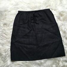 Allen Allen Women Small Black Knee Length 100% Linen Casual Skirt New