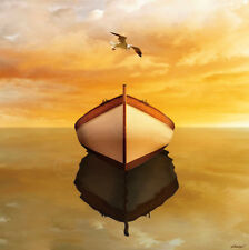 Time Out 16 by Carlos Casamayor Art Print Coastal Seagull Bird Boat Poster 32x32