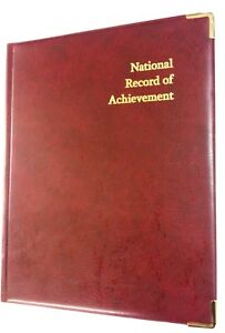 QTY 10(TEN)NATIONAL RECORD OF ACHIEVEMENT FOLDER IN BURG LEATHER LOOK-GOLD PRINT