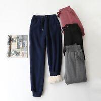 Women Sweatpants Fleece Jogger Pants Trousers Harem Casual Winter Drawstring New
