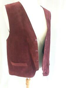 Genuine Leather Suede Burgundy Waistcoat Mens Sleeveless XL