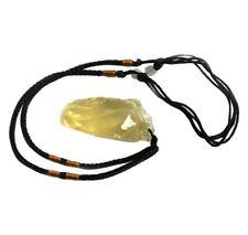 Natural Raw Citrine Crystal Quartz Pendant Adjustable Cord Necklace Yellow Lemon