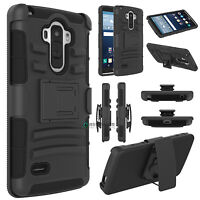 Rugged Hybrid Hard Case Cover + Belt Clip Holster For LG G Stylo LS770 G4 Stylus
