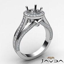 0.9Ct Diamond Engagement Round Semi Mount Millgrain Halo Pave Set Ring Platinum