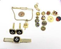 VTG Masons Masonic Lot of Jewelry Penny Tie Bar & Cuffs 12 pins+ More Penna
