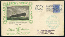 SS NIEUW AMSTERDAM MAIDEN VOYAGE CACHETED COVER 1938