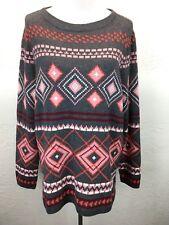 S19 NEW Talbots Plus 1X Lambswool Wool Blend Gray Pink Fair Isle Sweater