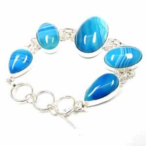 "155.70Cts Natural Botswana Onyx Agate Silver Overlay Handmade Bracelet 8"""