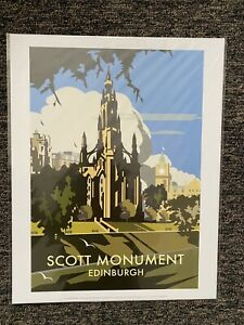 Retro Contemporary Travel Poster Print Scott Monument Edinburgh 14x11