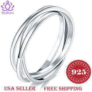 BORUO 925 Sterling Silver Ring Triple Interlocked Rolling Wedding Band Size 4-12