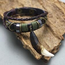 Ethnic style Retro Leather Bracelet Black Wolf teeth bracelet Man dark brown