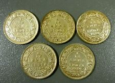 Lot Of 5 British India 1920 1/12 Anna Coins