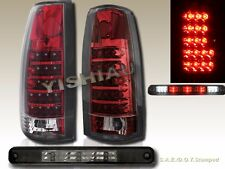88-98 CHEVY GMC C/K TRUCK RED LED TAIL LIGHTS G2 + SMOKE 3RD BRAKE LIGHT