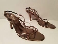 Via Spiga Women's 8.5M Metallic Leather High Heel Strappy Sandals Italy