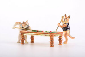Dogs playing snooker trinket box LIMITED EDITION - Keren Kopal & crystals