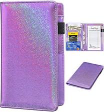 Glitter Leather Waiter Book Server Wallet with Zipper Pocket Waitress Organizer