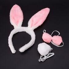 Lovely Girls Rabbit Bunny Ears Headband Tail Necktie Birthday Party Costume Prop