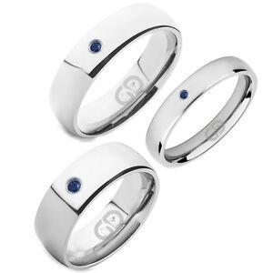 Sapphire Titanium Band High Polished Finish Comfort Fit Wedding Engagement Ring