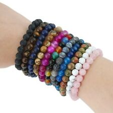"7.5"" Stone Beads Bracelet Elastic Stretch Bangle 6MM Round Bead Multi-Style"