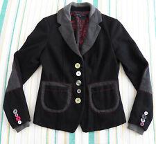 Desigual Rainbow WOMENS JACKET Blazer Size 36 black wool elbow patch Sport Coat