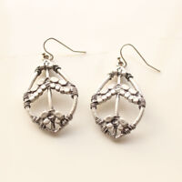 New Chicos Peace Sign Drop Dangle Earrings Gift FS Vintage Women Holiday Jewelry