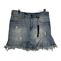 STS Blue Womens Jean Skirt Denim Casual Bottoms Distressed Ripped Blue Size 25