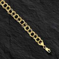 14k Yellow Gold Double Circle Charm Link Bracelet 4.8 gr  7 Inch 8.5MM