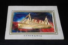 """Rms Lusitania Embossed Metal 5"""" x 3.5"""" Vintage Postcard ~ Unused S04"""