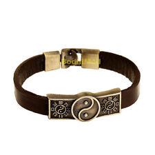 Vintage Ying Yang Brown Cowhide Leather Bangle Bracelet