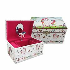 Magical Unicorn Kids Musical Jewellery Box - Pink Glittery Kids Music Box With R