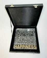 Stephen Schlanser Art Glass 2013 Happiness Etched Square Paperweight Signed Box