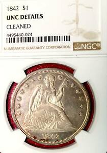 1842 SEATED LIBERTY DOLLAR NO MOTTO NGC UNC