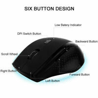 2.4GHz USB Receiver Wireless Optical Mouse Adjustable DPI for PC Laptop Desktop