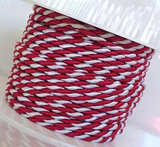 (1m=0,60€) KORDEL 15m x 4mm rot - weiß Drehkordel KORDELBAND Dekoband SCHNUR