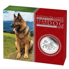 Lunar II Hund Dog PROOF Box COA 2018 polierte Platte BOX PP 0,5Oz halbe Unze