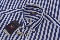 NWT Paul & Shark Yachting Size US 42 Dress Shirt 100% Linen Blue White Brand New