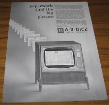 1960 VINTAGE AD~AB DICK OFFSET DUPLICATORS~TV SCREEN