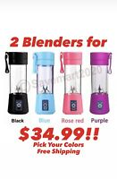 380ml Two Portable Personal Blender Juicer Mix Blend Rechargeable Jet Cordless