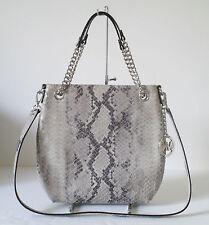 New Michael Kors Jet Set Chain Grey Leather Shoulder Tote Handbag