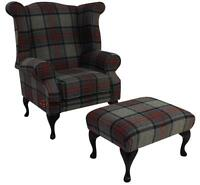 Chesterfield Edward Wing Armchair Beningborough Graphite Check Tweed Wool Stool