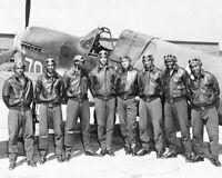 TUSKEGEE AIRMEN POSED W/ P-40 WARHAWK WWII 11x14 SILVER HALIDE PHOTO PRINT