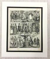 1849 Antique Engraving Print German French Dutch People Ethnographic RARE