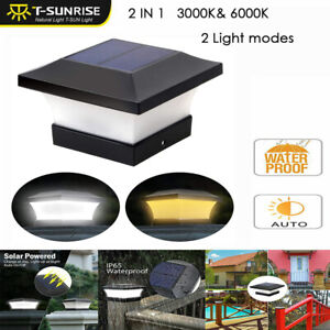 6 LED Solar Power Deck Post Light Outdoor Garden Cap Square Fence Landscape Lamp