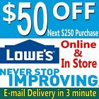 ONE (1x) Lowes $50 OFF $250 PRINTABLE-Coupons-20% off EXP- 04/04/17 Super Fast-