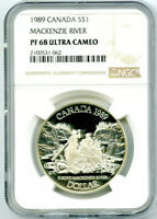 1989 S$1 CANADA MACKENZIE RIVER SILVER PROOF NGC PF68 ULTRA CAMEO DOLLAR