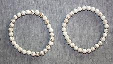 MAGNESIT weiß  gelb Armband ca. 19 cm Stretcharmband 6 mm Perlen Edelstein