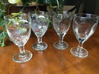 """Four Libbey Rock Sharpe Chivalry Iced Tea Water Goblets Paneled Textured 6 1/2"""""""